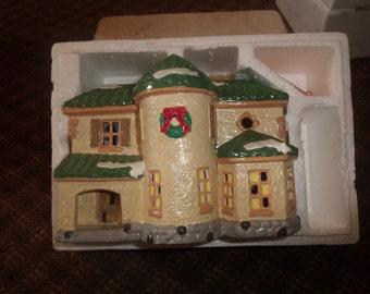 vintage department 56 snow village original building palos verdes with light