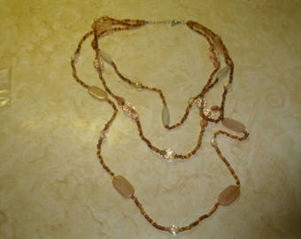 vintage necklace triple strand amber glass white swirl glass