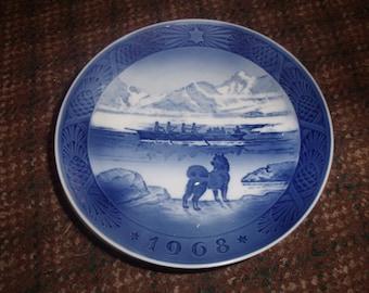 vintage royal copenhagen christmas plate 1968 last umiak