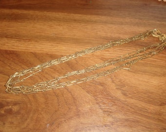 vintage necklace 7 strand goldtone chain
