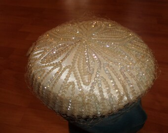 vintage ladies hat ivory colored irridescent sequins netting