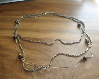 vintage necklace triple strand silvertone goldtone chain black enamel