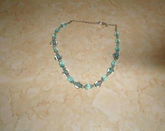 vintage necklace blue glass pink roses
