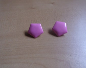 vintage clip on earrings pink lucite star