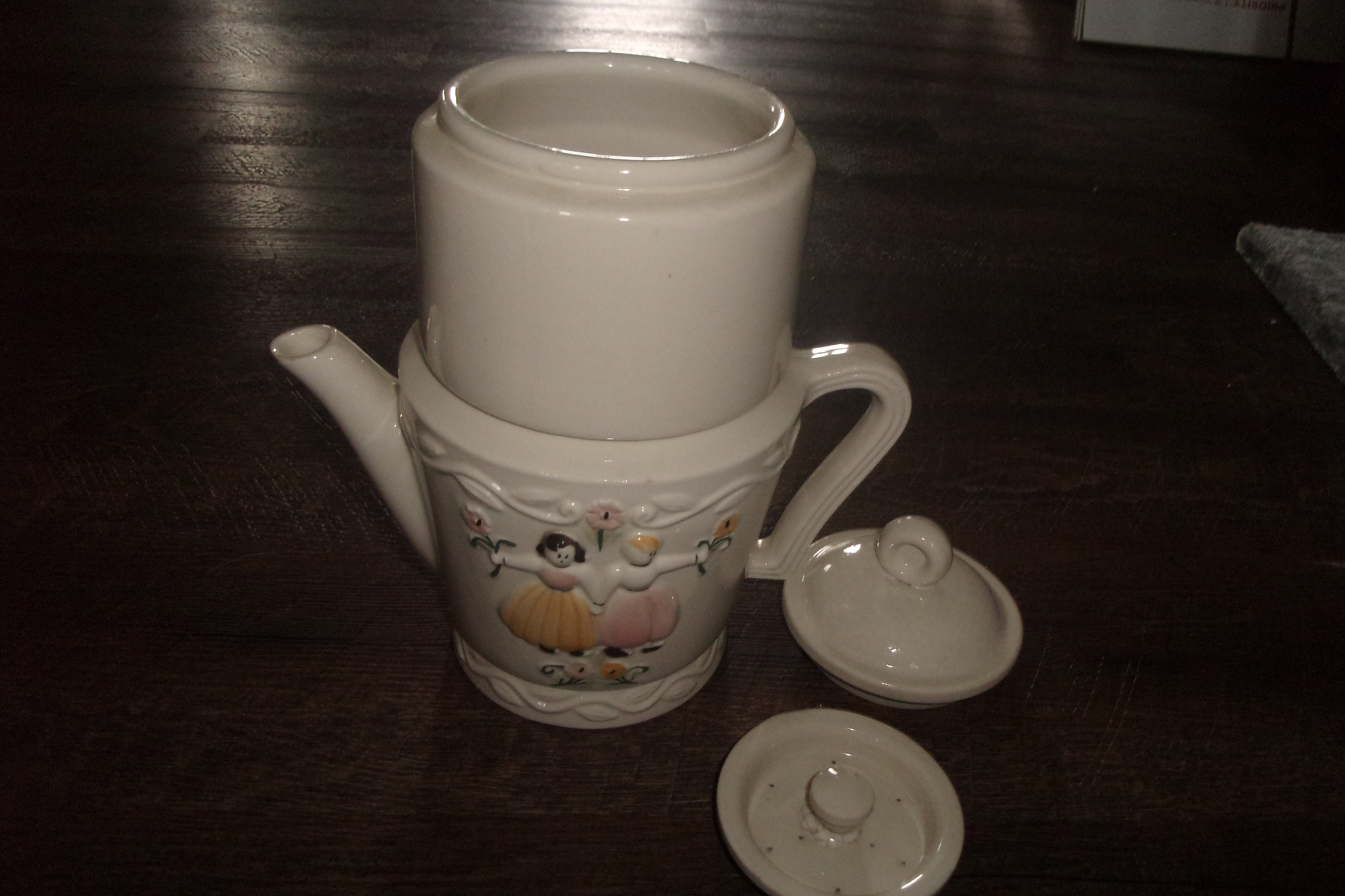 vintage porcelier vitreous china coffee pot dutch with insert