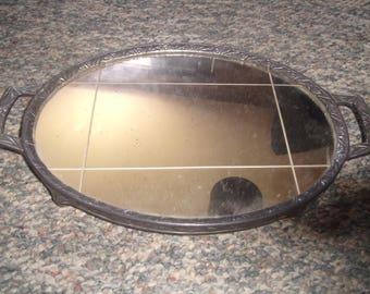 vintage silverplate footed dresser vanity mirror trinket