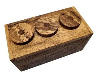 Fast Shipping - 3 Wheel Combo Wood Puzzle Box Stash Box