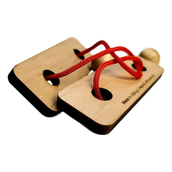 String Wooden Puzzle Brain Teaser Double Posts