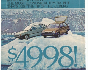 1983 Advertisement Toyota Tercel Tip Of The Iceberg Price Economy Car Oh What A Feeling Dealership Shop Garage 8x11 Wall Art Decor