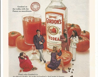 1972 Advertisement Gordon's Vodka and Tomato 70s Cocktails Bloody Mary Fashion Style 72 Wall Art Decor