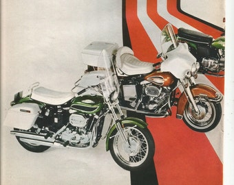 1971 Advertisement 2 Page Harley Davidson HD 1 10 Models Super Glide Rapido Sprint Cerianis Baja Sportster Garage Dealership Wall Art Decor