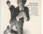 1966 Advertisement Verde Boots Men 39 s Footwear Electric Guitar Fender Stratocaster 60s Band Musicians Fashion Style Wall Art Decor