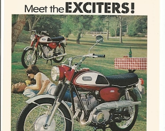 1968 Advertisement Yamaha Grand Prix Scrambler 350 The Exciters 60s Couple Picnic Park Red Small Motorbike Wall Art Decor