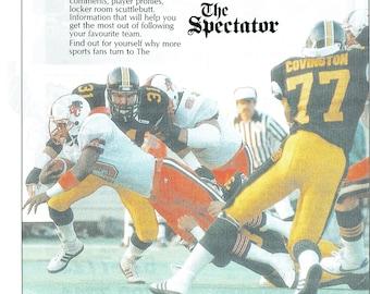 1988 Advertisement The Spectator Hamilton Tiger Cats CFL Football Ticats  Black Gold BC Lions Covington Ontario Canada Wall Art Decor 687112a18