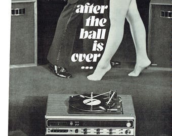 1973 Advertisement Channel Master 4 Dimensional Sound System Stereo Dancing 70s Ball Turntable Record Player Black White Wall Art Decor