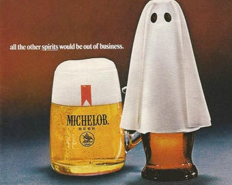 1970 Advertisement Michelob Beer Ghost Halloween Spirits Humor Surprise People Bottle Bar Pub Wall Art Decor