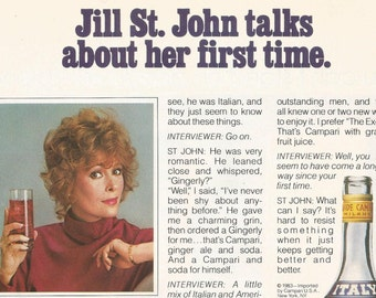 1983 Advertisement Campari Jill St John First Time Innuendo Cocktail Mix Orange Juice Celebrity Actor Bar Pub Wall Art Decor