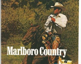 3724d95a1a548 1984 Advertisement Marlboro Cigarettes Country Cowboy Rancher White Hat  Roping Western Horses Smoking Tobacciana Wall Art Decor