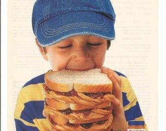 1997 Advertisement Skippy Peanut Butter Lover Jelly Jam Triple Quadruple Decker Sandwich Cute Boy PB and J Kitchen Diner Cafe Wall Art Decor