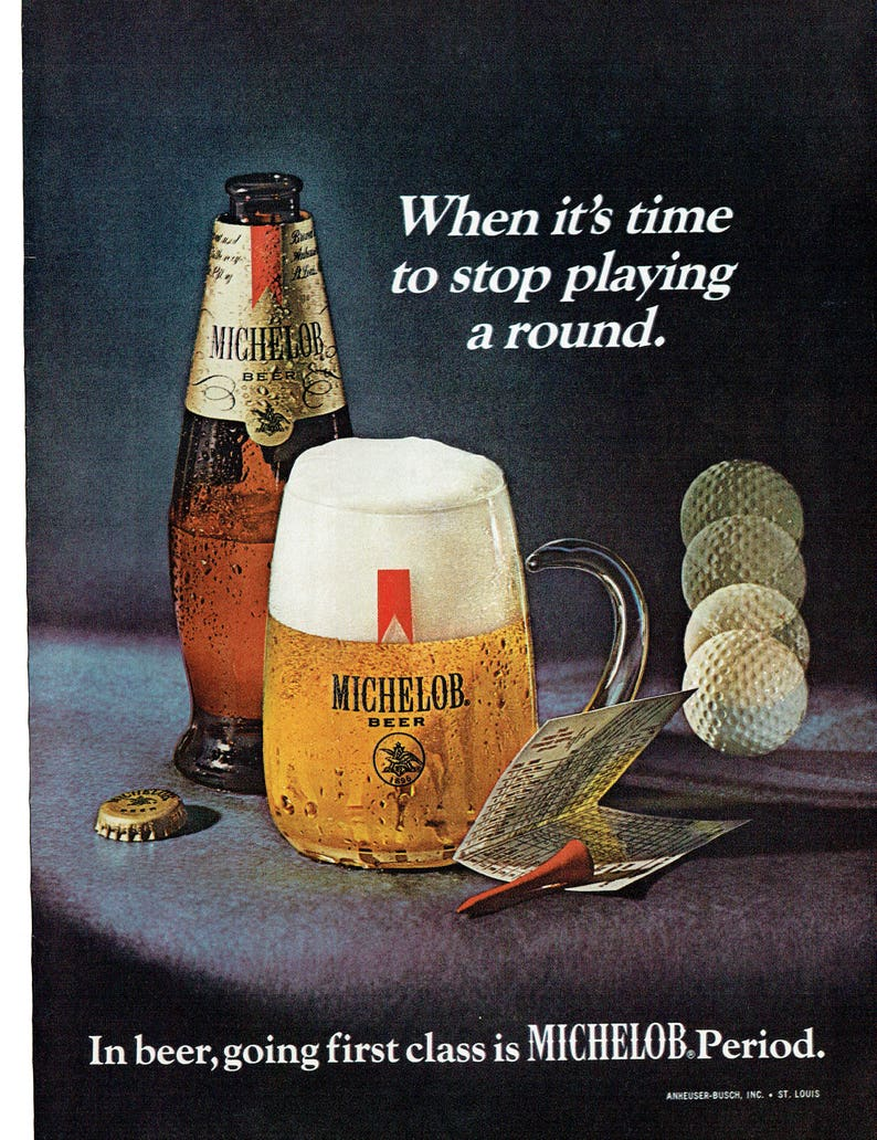 1969 Advertisement Michelob Beer Golf Round Clubhouse Club 19th Hole  Restaurant Pub Bar Wall Art Decor