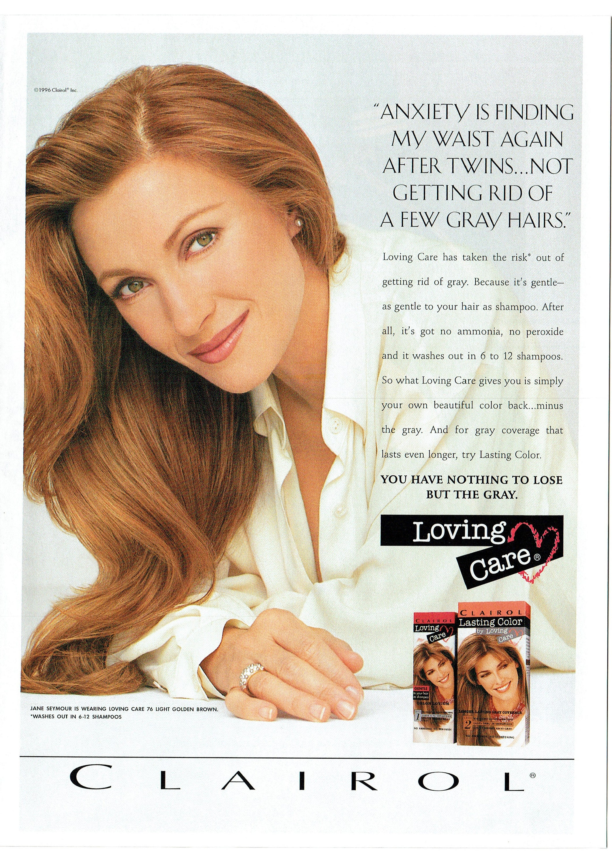 1997 Advertisement Jane Seymour Clairol Loving Care Hair Lasting Color Dye Actress Endorsement Lose The Gray Salon Celebrity Wall Art Decor