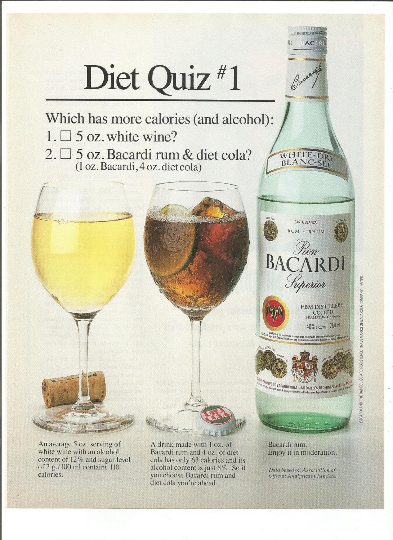1992 Werbung Bacardi Rum Diät Quiz 1 gegen Wein mit Cola mehr | Etsy