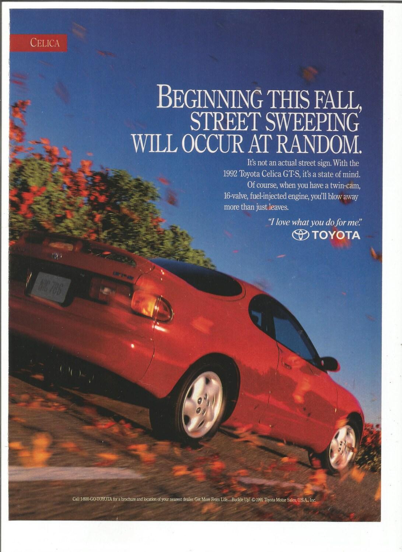1992 Advertisement Toyota Celica Gts Red 80s 2 Door Sedan 92 Etsy
