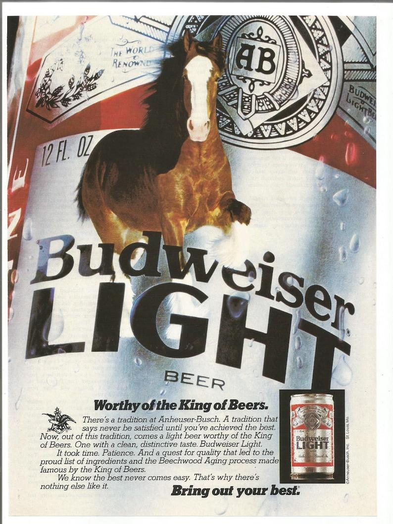 1982 Advertisement Bud Light Horse Budweiser Beer Drinker King Anheuser  Busch Pub Bar Wall Art Decor
