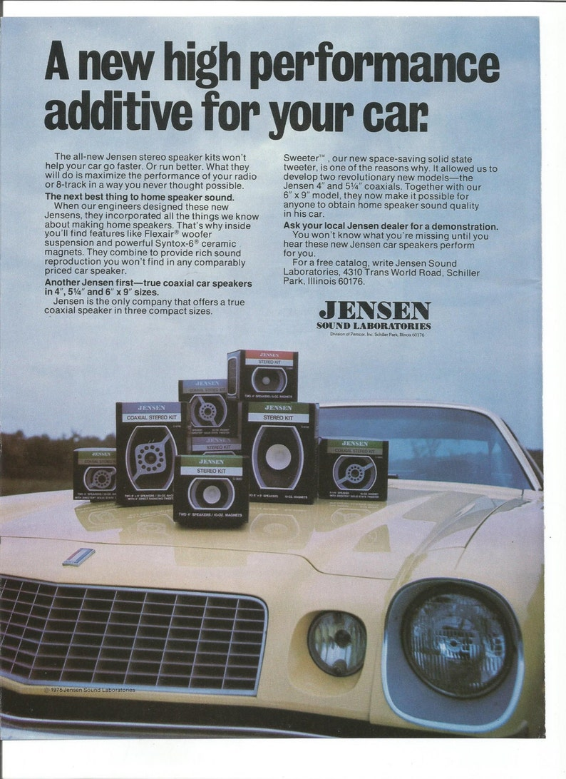 1978 Advertisement Jensen Triaxial System In Door Speakers Car Audio Sound  Sound Lab 70s Music Technology Shop Garage Wall Art Decor