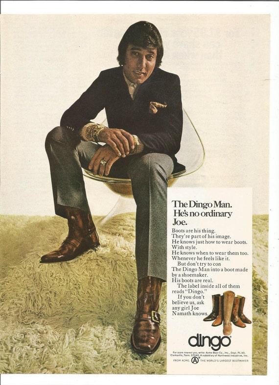 1971 Print Ad DINGO Western Cowboy Boots ~ Joe Namath New York Jets Old Chair