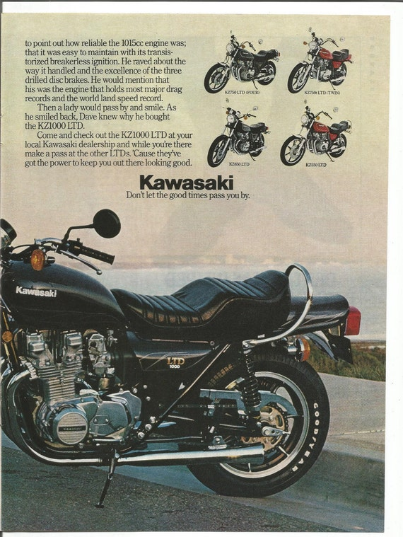 1980 Advertisement Kawasaki Kz1000 Ltd Motorcycle 2 Page Motorbike Riding Bike Ford Mustang Blue Models Garage Shop Wall Art Decor