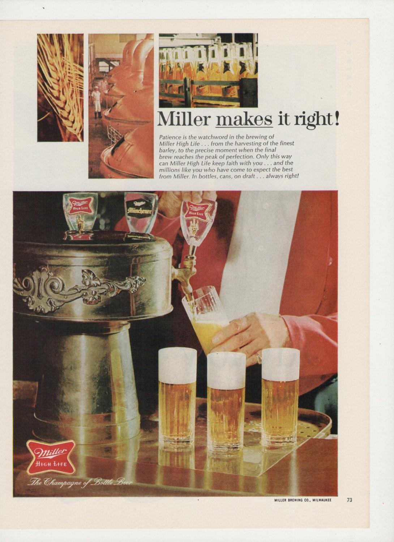 1968 Werbung Miller High Life Bier gießen Tiefgang Entwurf
