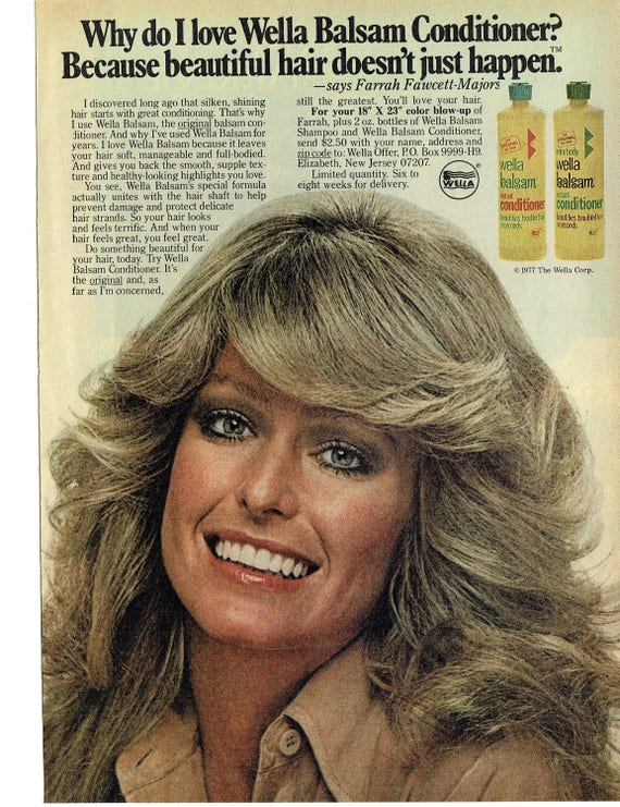 1977 advertisement farrah fawcett for wella balsam conditioner etsy