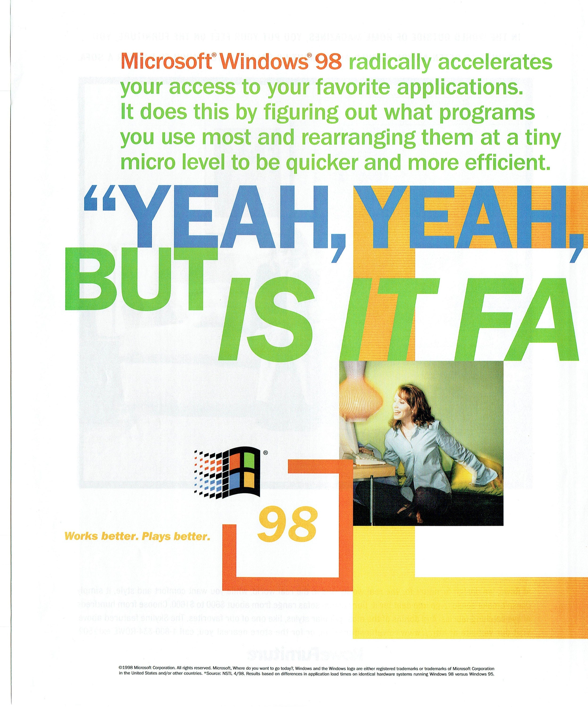 1998 Advertisement 2 Pages Microsoft Windows 98 OS Operating System Faster  Internet Computer Geek 90's Works Plays Better Wall Art Decor