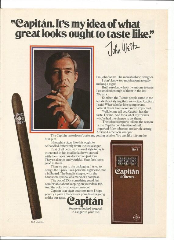 1973 Advertisement John Weitz for Capitan de Tueros Cigars Mens Fashion  Designer Tobacciana No 7 Smoking Room Celebrity Wall Art Decor