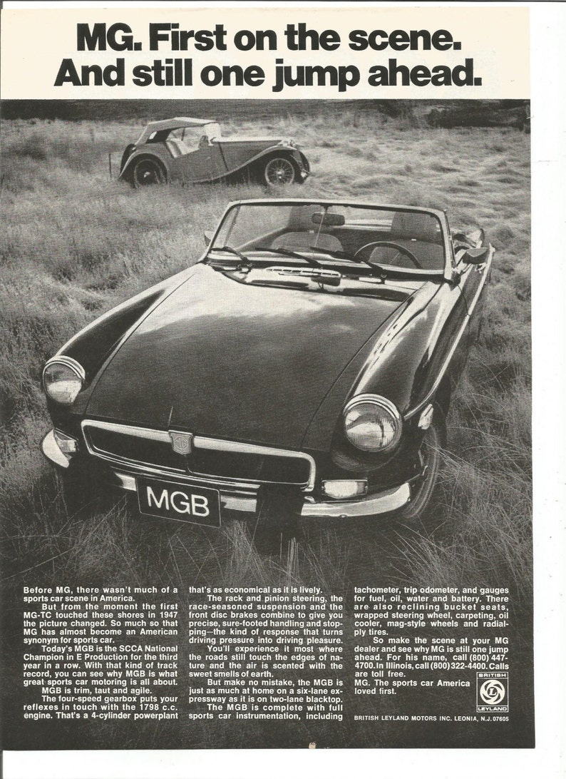 VINTAGE AD MG 1974 MGB Black Convertible Sports Car First On The Scene