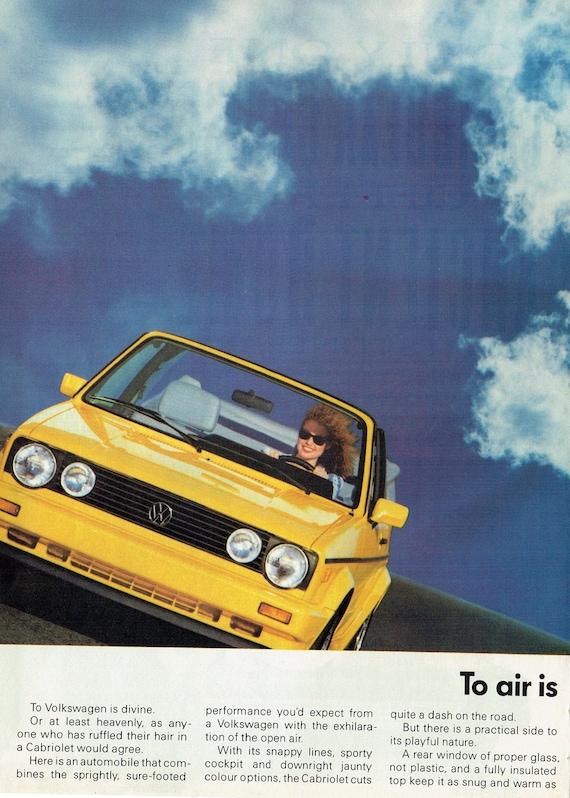 1992 Advertisement 2 Page Volkswagen Cabriolet VW 92 Driver