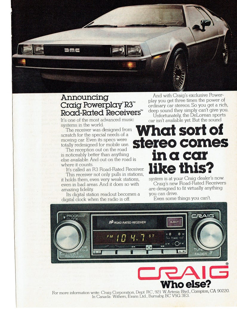 Annonce Concessionnaire Audio Magasin Studio Art De Stéréo Prototype Garage Décoration Craig Voiture 1979 Sport Des 70 Années Delorean WEHbe9YID2