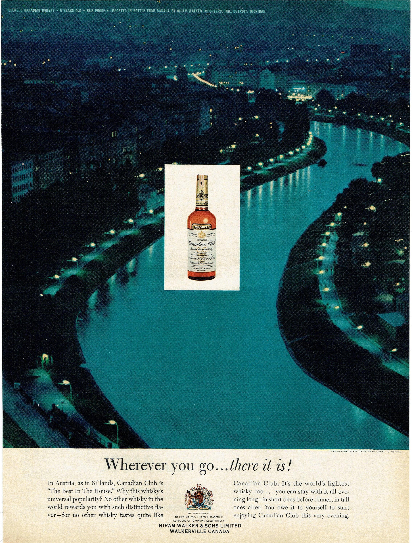 1962 Werbung Canadian Club Whisky Donau Vienna Austria