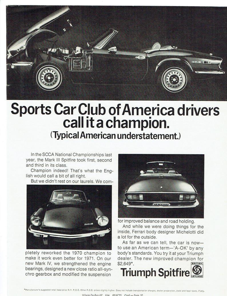 1971 Advertisement Triumph Spitfire Convertible Sports Car Etsy
