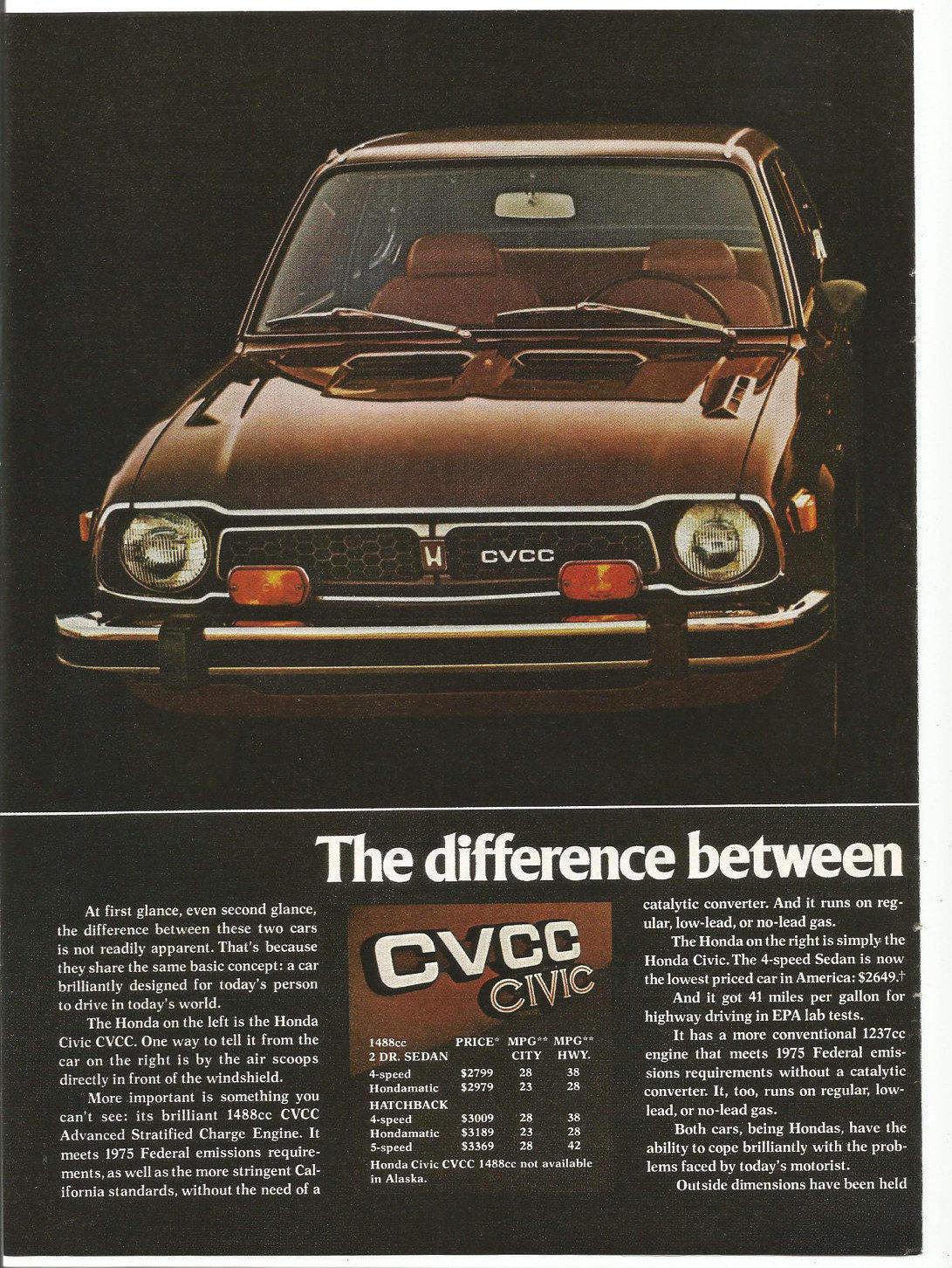e2c7120748 1975 Advertisement 2 Page Honda Civic CVCC Brown 2 Door Coupe