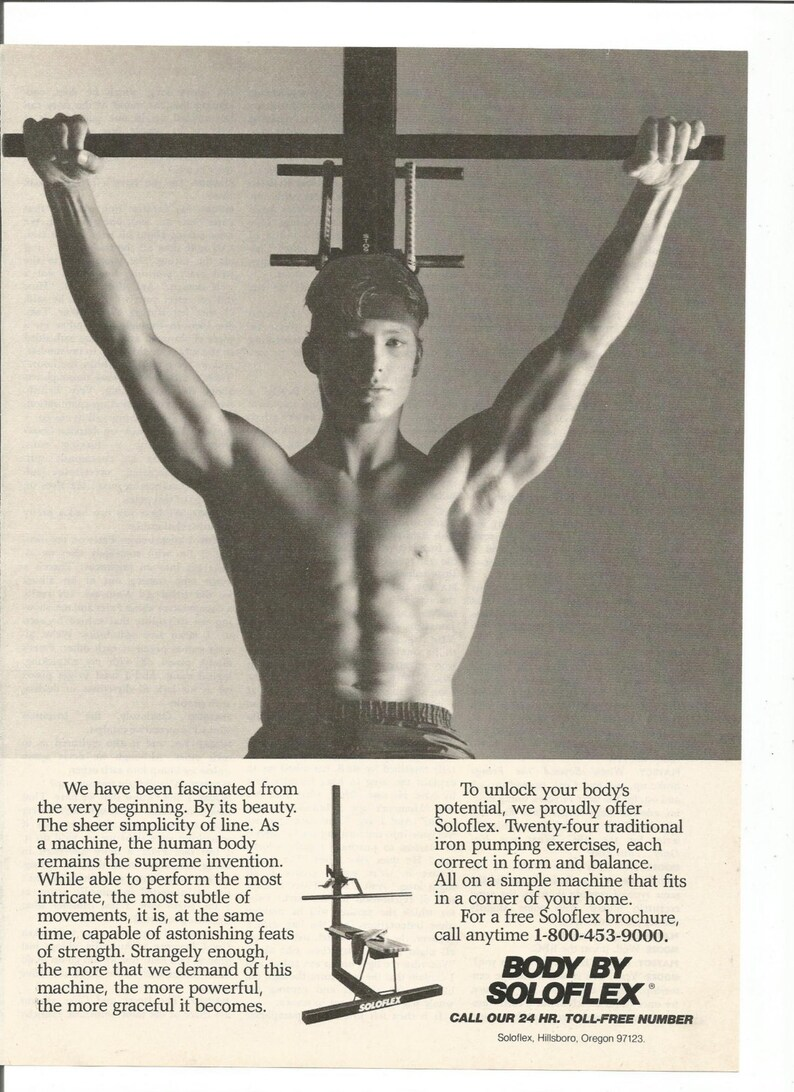 1983 Advertisement Soloflex Shirtless Man Body Black and White No Pain No  Gain Pumping Iron 80s Fitness Gym Workout Studio Wall Art Decor
