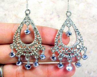 Chandelier Earrings Silver Crystals beaded