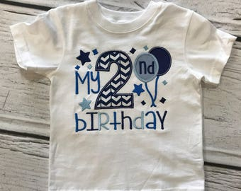 Boys 2nd Birthday Shirt Its My Embroidered Balloon Second