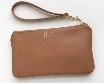 Genuine Leather Monogrammed Wristlet Clutch Bag. Luxury Bridesmaid Gifts. Brown Leather Bag Bridal Party Gifts. Personalized Leather Clutch