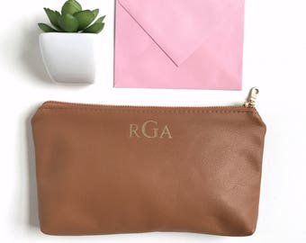 Bridesmaid Gift. Leather Monogrammed Clutch Bag with Personalized Message