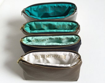 Four Custom Message Makeup Bags. Personalized Bridesmaids Gifts. Gold Vegan Leather