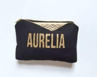 Bridesmaid Gift Ideas, Bridesmaid Ideas, Bridesmaid Gift, Gift Ideas, Ideas Bridesmaid, Gift, Personalized Name Makeup Bag, Black & Gold