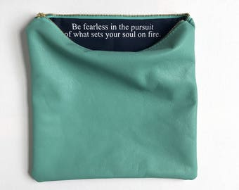 Graduation Gift For Her, Graduation Gift, For Her Gift, Gift Graduation, Inspirational Gift For Her, Custom Aqua Leather Fold Over Bag