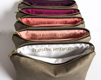 Eight Personalized Bridesmaid Gifts. Custom Message Makeup Bags for Bridal Party. Gold Vegan Leather.